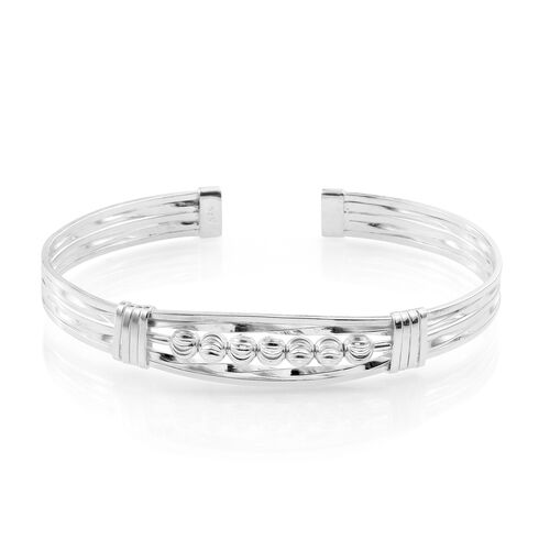 Designer Inspired- Sterling Silver Cuff Bangle (Size 7.5). Silver Wt 19.50 Gms