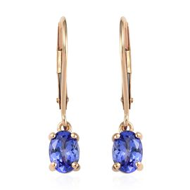 ILIANA 18K Yellow Gold AAA Tanzanite (Ovl) Lever Back Earrings 1.30 Ct.