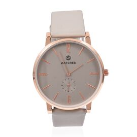 STRADA China Movement Rose Gold and Silver Colour Plated Water Resistant Watch with Grey Colour Literal and Strap.