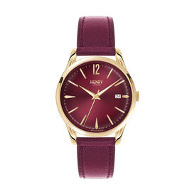 Henry London Holborn Ladies Watch with Burgundy Lamb Leather Strap