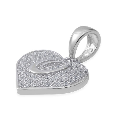 ELANZA Simulated Diamond (Rnd) Heart with Initial O Pendant in Rhodium Overlay Sterling Silver