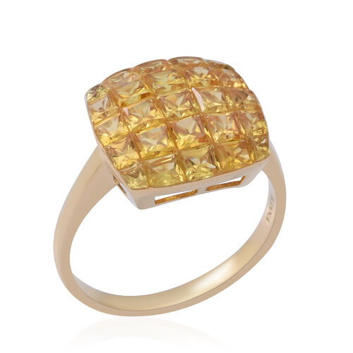 ILIANA 18K Yellow Gold AAA Yellow Sapphire Cluster Ring 4.19 Ct.