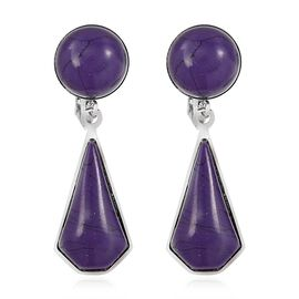 Purple Colour Howlite (Rnd) Clip - On Dangle Earrings in Stainless Steel 13.000 Ct.