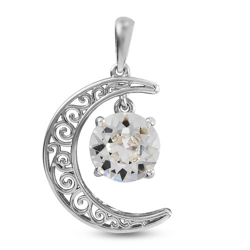 J Francis Crystal from Swarovski White Crystal Moon Pendant in Platinum Overlay Sterling Silver