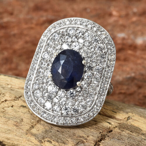 Cocktail Collection-Masoala Sapphire (Ovl 4.00 Ct), Natural Cambodian Zircon Ring in Platinum Overlay Sterling Silver 8.500 Ct.