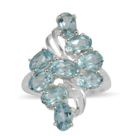 AA Sky Blue Topaz (Ovl) Cluster Ring in Sterling Silver 4.95 Ct.