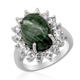 Siberian Seraphinite (Ovl 5.00 Ct) White Topaz Ring in Platinum Overlay Sterling Silver  6.750 Ct.
