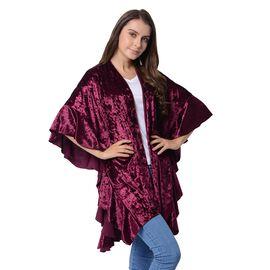 Wine Colour Falbala Sleeves Kimono (Size 96x70 Cm)
