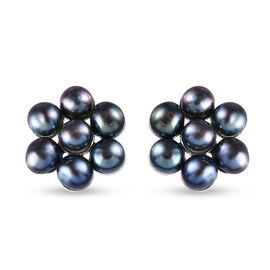 Peacock Freshwater Pearl Floral Stud Earrings (with Push Back) in Sterling Silver