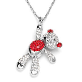 Multi Colour Austrian Crystal Teddy-Bear Pendant With Chain (Size 29 with 2.5 inch Extender) in Red