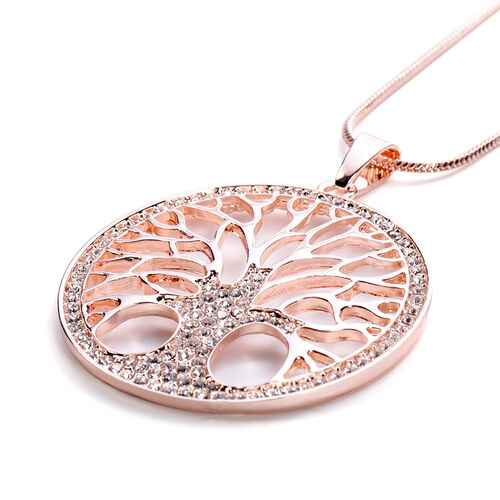 Monster Deal- White Austrian Crystal Tree-of-Life Pendant with Chain in Rose Gold Tone