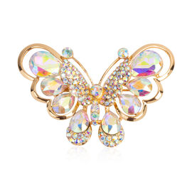 Aurora Borealis Colour Austrian Crystal (Pear) Butterfly Brooch in Yellow Gold Tone