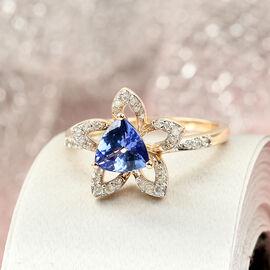 GP Itialian Garden Collection - 9K Yellow Gold Tanzanite, Diamond and Kanchanaburi Blue Sapphire Ring 1.026  Ct.