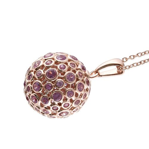 Pink Sapphire (Rnd) Ball Pendant with Chain in Rose Gold Overlay Sterling Silver 4.750 Ct. Silver wt 8.09 Gms.