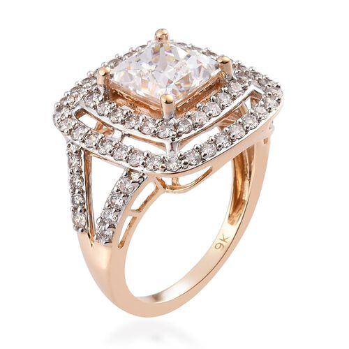 J Francis 9K Yellow Gold Ring Made with SWAROVSKI ZIRCONIA 5.40 Ct.