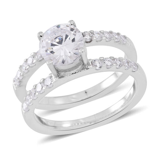ELANZA AAA Simulated White Diamond (Rnd) 2 Ring Set in Rhodium and Yellow Gold Overlay Sterling Silver.Silver wt 8.02 Gms