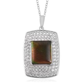 5.4 Ct Canadian Ammolite and White Zircon Halo Pendant with Chain in Sterling Silver