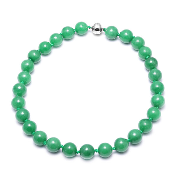 Very Rare Burmese Green Jade Bead Necklace (Size 20) (Round 15-16 mm) with Magnetic Clasp in Rhodium