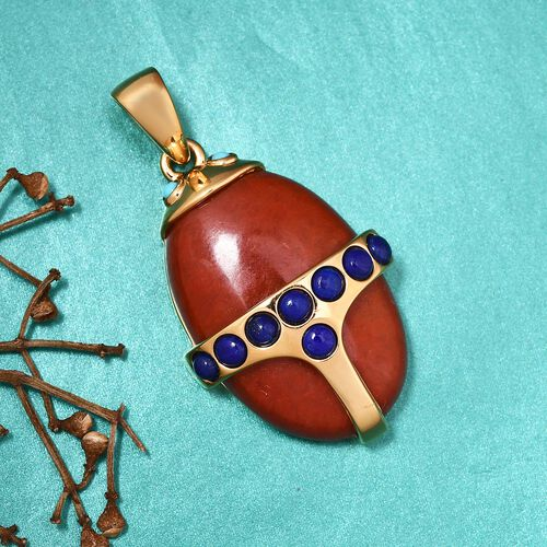 Sundays Child - Red Jade, Lapis Lazuli and Arizona Sleeping Beauty Turquoise Beetle Pendant in 14K Gold Overlay Sterling Silver 36.15 Ct.