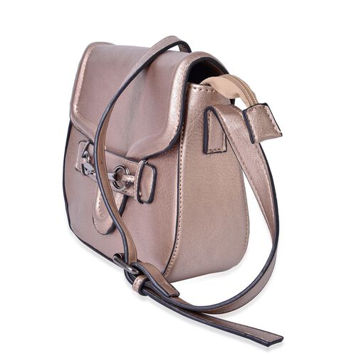 Bronze Colour Horsebit Buckle Design Crossbody Bag with Adjustable Shoulder Strap (Size 22.5X19X7.5 Cm)