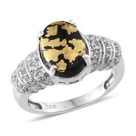 Goldenite (Ovl 3.15 Ct), White Topaz Ring in Platinum Overlay Sterling Silver 3.500 Ct.