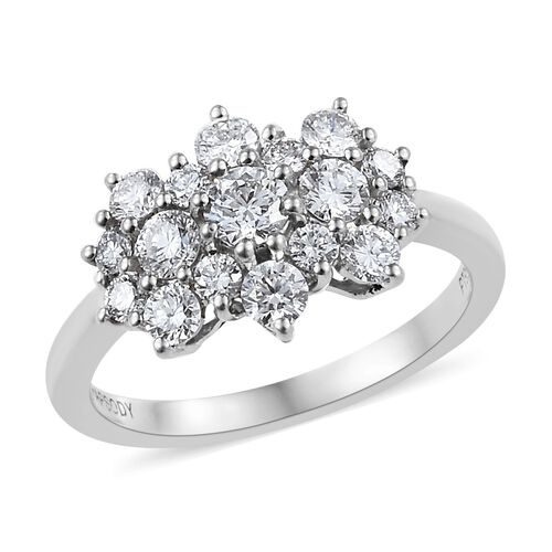 RHAPSODY 1 Carat Diamond Cluster Ring in 950 Platinum 4.40 Grams IGI Certified VS EF