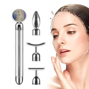 4-in-1 Lapis Facial Roller - Silver Plated Interchangeable Heads (Incl. Lapis, T-Shaped and Drip-Sha