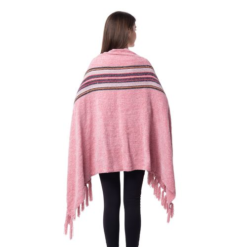 One Time Close Out Deal- Designer Inspired- Pink Colour Stripe Pattern Scarf (Size 160x75 Cm)