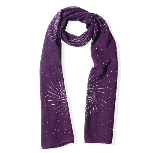 Purple Colour Fireworks Pattern Scarf with Crystal Embellishment (Size 157x50 Cm)