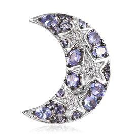 GP Tanzanite, Natural Cambodian Zircon and Blue Sapphire Crescent Moon Pendant in Platinum and Black
