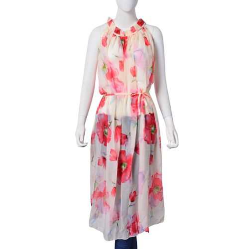 New For Season -Red, Light Green and Multi Colour Bloom Floral Pattern Off White Colour Dress (Free