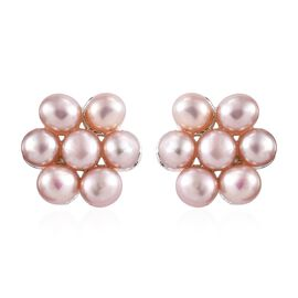 Designer Inspired-Freshwater Pink Pearl (Rnd) Floral Earrings (with Push Back) in Sterling Silver