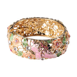 Multi Colour Austrian Crystal Enamelled Bangle (Size 7.5) in Yellow Gold Tone