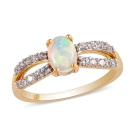 Ethiopian Welo Opal and Natural Cambodian Zircon Ring in 14K Gold Overlay Sterling Silver