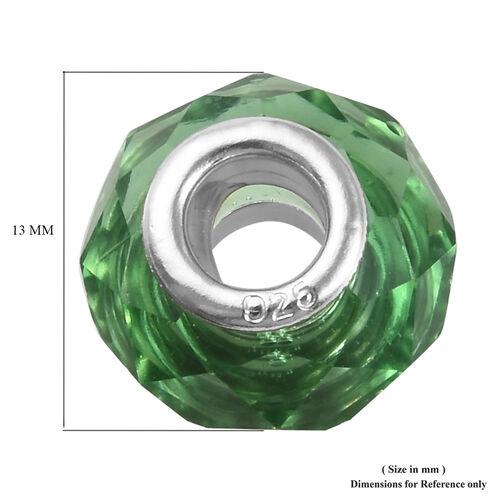 Charmes De Memoire Green Murano Style Glass Charm in Platinum Overlay Sterling Silver