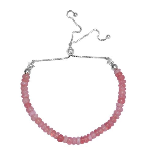 18.90 Ct Pink Opal Bolo Beaded Adjustable Bracelet in Sterling Silver 6.5 to 10 Inch