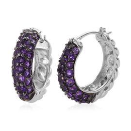 3 Carat Amethyst Hoop Earrings in Sterling Silver 8.8 Grams With Clasp Lock