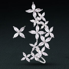 Simulated Diamond Floral Stud/Climber Earrings (with Push Back) in Silver Tone