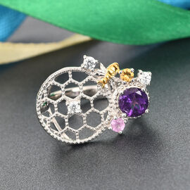 GP Itallian Garden Leaf and Flower - Amethyst, Pink Sapphire and Multi Gemstone Ring in Platinum Overlay Sterling Silver