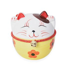 Ceramic Lucky Fortune Cat Coin Bank with One Bell (Size 6x8 Cm) - Yellow