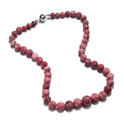 300 Ct Norwegian Thulite Beaded Necklace in Rhodium Plated Sterling Silver 18 Inch