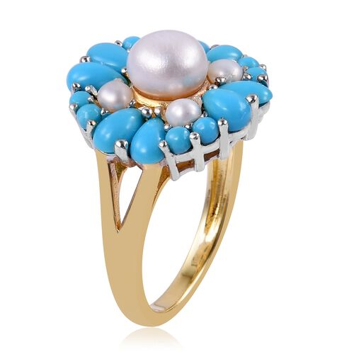 Arizona Sleeping Beauty Turquoise (Pear), Fresh Water Pearl Floral Ring in Rhodium and Yellow Gold Overlay Sterling Silver 3.825 Ct.