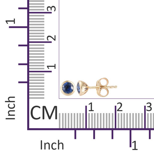 9K Yellow Gold AAA Himalayan Kyanite (Rnd) Stud Earrings (with Push Back) 0.650 Ct