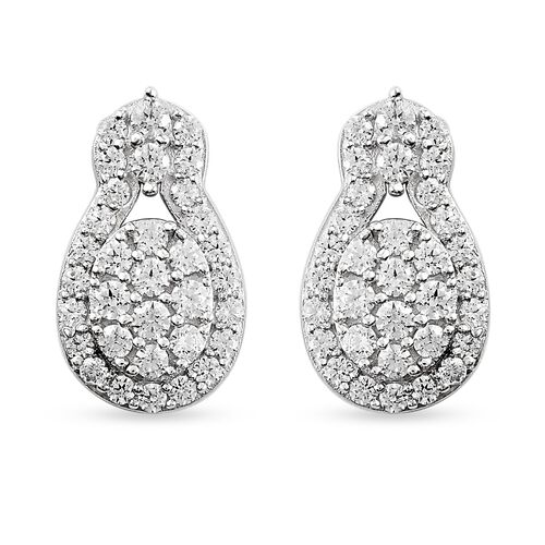 J Francis Platinum Overlay Sterling Silver Earrings (with Push Back) Made with SWAROVKSI ZIRCONIA 2.39 Ct.