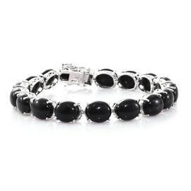 Elite Shungite (Ovl) Bracelet (Size 7.75) in Platinum Overlay Sterling Silver 50.000 Ct. Silver wt 1