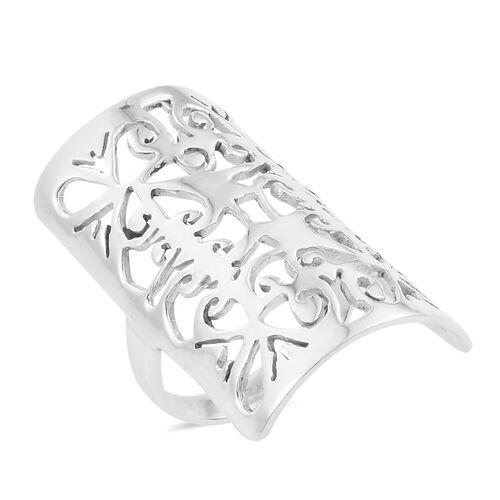 Designer Inspired - Hand Made Sterling Silver Filgree Ring, Silver wt 6.10 Gms