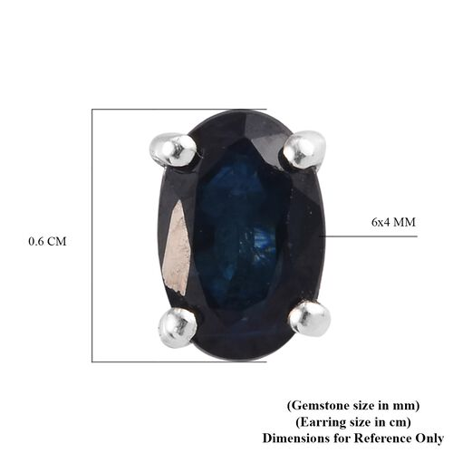 Fissure Filled Blue Sapphire Earring in Platinum Overlay Sterling Silver 0.25 ct  1.250  Ct.