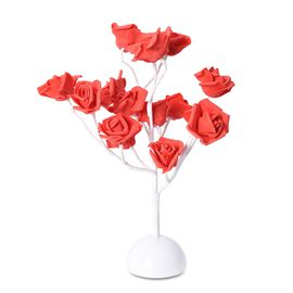 Home Decor - Pink Rose Flower White LED Table Lamp (Size 40 Cm)(3xAA Battery not Included) - Red and