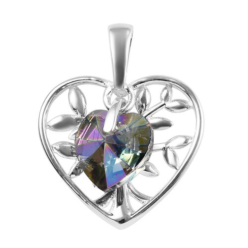 J Francis Paradise Shine Crystal from Swarovski Solitaire Heart Pendant in Sterling Silver
