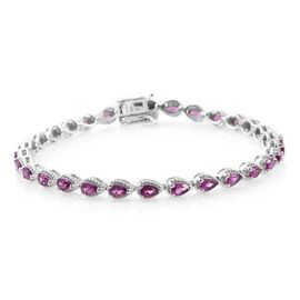 Rare Natural Purple Garnet (Pear) Bracelet (Size 8) in Platinum Overlay Sterling Silver 7.00 Ct.